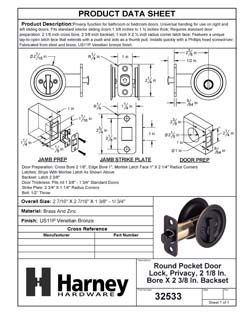 Product Data Specification Sheet Of A Round Pocket Door Lock, Privacy, 2 1/8 In. Bore X 2 3/8 In. Backset - Venetian Bronze Finish - Product Number 32533