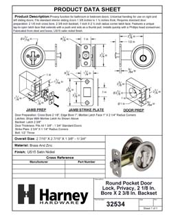 Product Data Specification Sheet Of A Round Pocket Door Lock, Privacy, 2 1/8 In. Bore X 2 3/8 In. Backset - Satin Nickel Finish - Product Number 32534