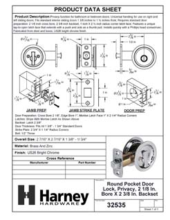 Product Data Specification Sheet Of A Round Pocket Door Lock, Privacy, 2 1/8 In. Bore X 2 3/8 In. Backset - Chrome Finish - Product Number 32535