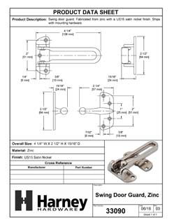 Product Data Specification Sheet Of A Security Door Guard - Satin Nickel Finish - Product Number 33090