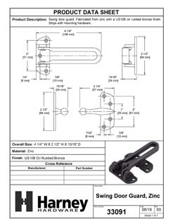 Product Data Specification Sheet Of A Security Door Guard - Oil Rubbed Bronze Finish - Product Number 33091