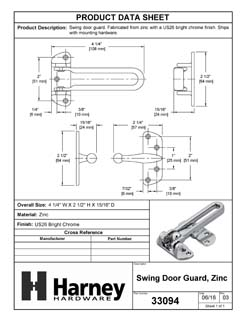 Product Data Specification Sheet Of A Security Door Guard - Chrome Finish - Product Number 33094