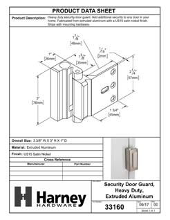 Product Data Specification Sheet Of A Security Door Guard, Heavy Duty - Satin Nickel Finish - Product Number 33160