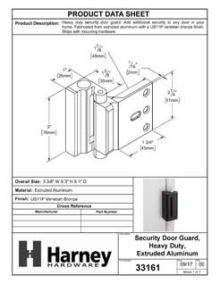 Product Data Specification Sheet Of A Security Door Guard, Heavy Duty - Venetian Bronze Finish - Product Number 33161