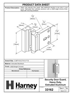 Product Data Specification Sheet Of A Security Door Guard, Heavy Duty - Chrome Finish - Product Number 33162