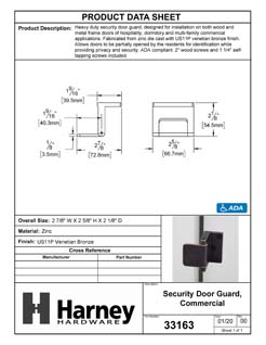 Product Data Specification Sheet Of A Security Door Guard, Commercial - Venetian Bronze Finish - Product Number 33163