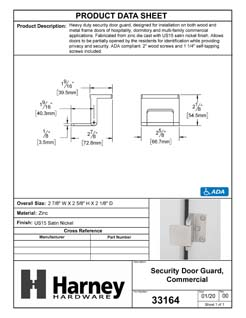 Product Data Specification Sheet Of A Security Door Guard, Commercial - Satin Nickel Finish - Product Number 33164