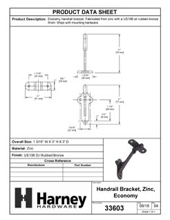 Product Data Specification Sheet Of A Handrail Bracket - Oil Rubbed Bronze Finish - Product Number 33603