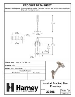 Product Data Specification Sheet Of A Handrail Bracket - Satin Nickel Finish - Product Number 33606
