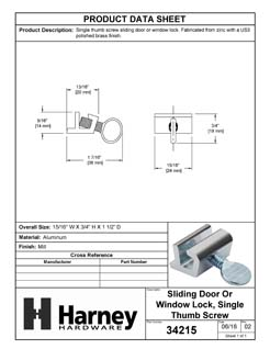 Product Data Specification Sheet Of A Sliding Window Lock - Unpolished Mill Finish Finish - Product Number 34215