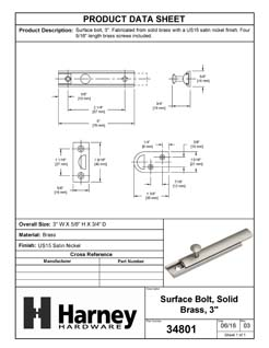 Product Data Specification Sheet Of A Surface Bolt, Solid Brass, 3 In. - Satin Nickel Finish - Product Number 34801