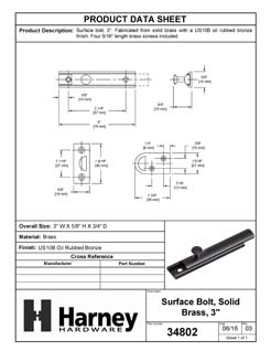Product Data Specification Sheet Of A Surface Bolt, Solid Brass, 3 In. - Oil Rubbed Bronze Finish - Product Number 34802