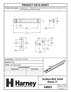 Product Data Specification Sheet Of A Surface Bolt, Solid Brass, 4 In. - Satin Nickel Finish - Product Number 34803