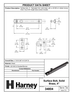 Product Data Specification Sheet Of A Surface Bolt, Solid Brass, 4 In. - Oil Rubbed Bronze Finish - Product Number 34804