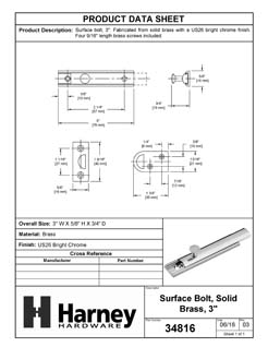 Product Data Specification Sheet Of A Surface Bolt, Solid Brass, 3 In. - Chrome Finish - Product Number 34816