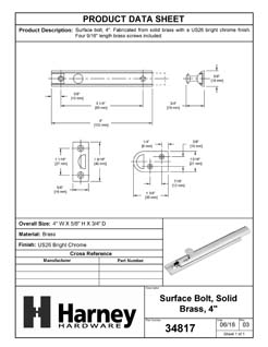 Product Data Specification Sheet Of A Surface Bolt, Solid Brass, 4 In. - Chrome Finish - Product Number 34817
