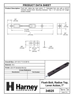 Product Data Specification Sheet Of A Flush Bolt, 7 In. X 3/4 In. - Venetian Bronze Finish - Product Number 34825