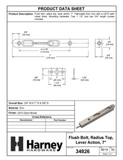Product Data Specification Sheet Of A Flush Bolt, 7 In. X 3/4 In. - Satin Nickel Finish - Product Number 34826