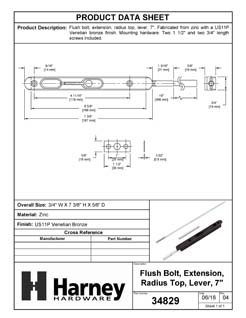 Product Data Specification Sheet Of A Extension Flush Bolt, 7 3/8 In. X 3/4 In. X 16 In. - Venetian Bronze Finish - Product Number 34829