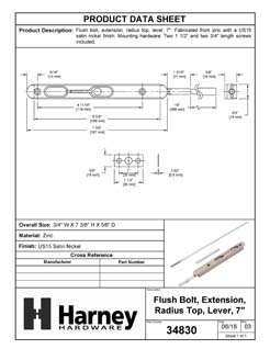 Product Data Specification Sheet Of A Extension Flush Bolt, 7 3/8 In. X 3/4 In. X 16 In. - Satin Nickel Finish - Product Number 34830
