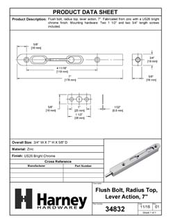 Product Data Specification Sheet Of A Flush Bolt, 7 In. X 3/4 In. - Chrome Finish - Product Number 34832