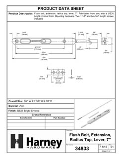 Product Data Specification Sheet Of A Extension Flush Bolt, 7 3/8 In. X 3/4 In. X 16 In. - Chrome Finish - Product Number 34833