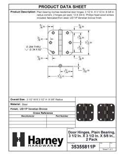 Product Data Specification Sheet Of A Door Hinges, Plain Bearing, 3 1/2 In. X 3 1/2 In. X 5/8 In. Radius, 2 Pack - Venetian Bronze Finish - Product Number 35355811P