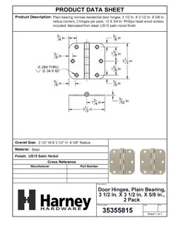 Product Data Specification Sheet Of A Door Hinges, Plain Bearing, 3 1/2 In. X 3 1/2 In. X 5/8 In. Radius, 2 Pack - Satin Nickel Finish - Product Number 35355815