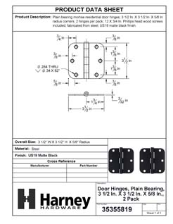 Product Data Specification Sheet Of A Door Hinges, Plain Bearing, 3 1/2 In. X 3 1/2 In. X 5/8 In. Radius, 2 Pack - Matte Black Finish - Product Number 35355819