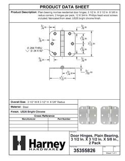 Product Data Specification Sheet Of A Door Hinges, Plain Bearing, 3 1/2 In. X 3 1/2 In. X 5/8 In. Radius, 2 Pack - Chrome Finish - Product Number 35355826