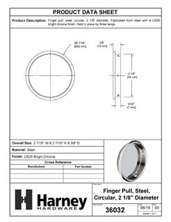 Product Data Specification Sheet Of A Round Flush Pull, 2 1/8 In. Diameter - Chrome Finish - Product Number 36032