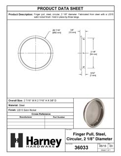 Product Data Specification Sheet Of A Round Flush Pull, 2 1/8 In. Diameter - Satin Nickel Finish - Product Number 36033