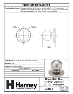 Product Data Specification Sheet Of A Cabinet Knob, Spherical, 1 11/16 In. Diameter - Satin Nickel Finish - Product Number 36063