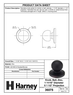 Product Data Specification Sheet Of A Cabinet Knob, Spherical, 1 11/16 In. Diameter - Venetian Bronze Finish - Product Number 36075