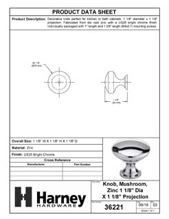 Product Data Specification Sheet Of A Cabinet Knob, Round, 1 1/8 In. Diameter - Chrome Finish - Product Number 36221