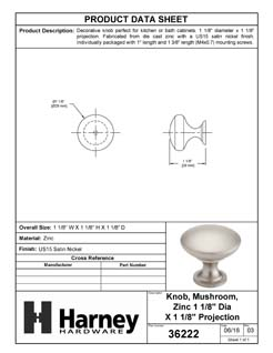 Product Data Specification Sheet Of A Cabinet Knob, Round,  1 1/8 In. Diameter - Satin Nickel Finish - Product Number 36222
