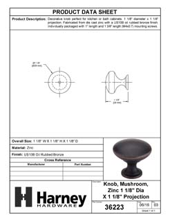 Product Data Specification Sheet Of A Cabinet Knob, Round, 1 1/8 In. Diameter - Venetian Bronze Finish - Product Number 36223