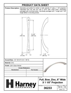 Product Data Specification Sheet Of A Cabinet Bow Pull, 5 In. Center To Center - Satin Nickel Finish - Product Number 36233