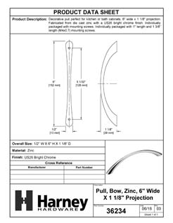 Product Data Specification Sheet Of A Cabinet Bow Pull, 5 In. Center To Center - Chrome Finish - Product Number 36234