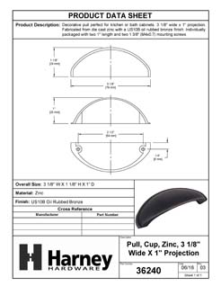 Product Data Specification Sheet Of A Cabinet Cup Pull, 2 1/2 In. Center To Center - Venetian Bronze Finish - Product Number 36240