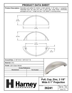 Product Data Specification Sheet Of A Cabinet Cup Pull, 2 1/2 In. Center To Center - Satin Nickel Finish - Product Number 36241