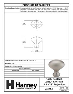 Product Data Specification Sheet Of A Cabinet Knob, Oval, 1 5/16 In. Diameter - Satin Nickel Finish - Product Number 36253