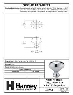 Product Data Specification Sheet Of A Cabinet Knob, Oval, 1 5/16 In. Diameter - Chrome Finish - Product Number 36254