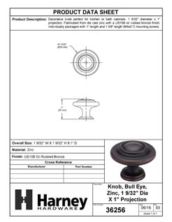 Product Data Specification Sheet Of A Cabinet Knob, 3 Ring, Round, 1 1/8 In. Diameter - Venetian Bronze Finish - Product Number 36256