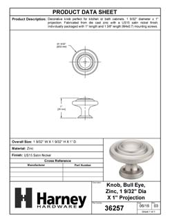 Product Data Specification Sheet Of A Cabinet Knob, 3 Ring, Round, 1 1/8 In. Diameter - Satin Nickel Finish - Product Number 36257