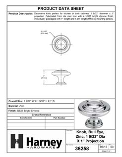 Product Data Specification Sheet Of A Cabinet Knob, 3 Ring, Round, 1 1/8 In. Diameter - Chrome Finish - Product Number 36258
