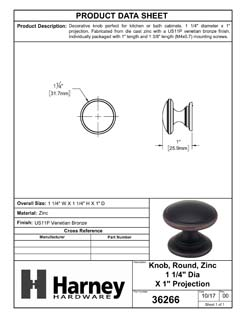 Product Data Specification Sheet Of A Cabinet Knob, Round, 1 1/4 In. Diameter - Venetian Bronze Finish - Product Number 36266