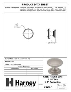 Product Data Specification Sheet Of A Cabinet Knob, Round, 1 1/4 In. Diameter - Satin Nickel Finish - Product Number 36267