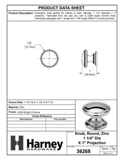Product Data Specification Sheet Of A Cabinet Knob, Round, 1 1/4 In. Diameter - Chrome Finish - Product Number 36268