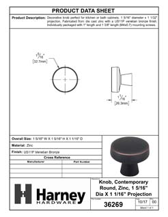 Product Data Specification Sheet Of A Cabinet Knob, Contemporary Round, 1 5/16 In. Diameter - Venetian Bronze Finish - Product Number 36269